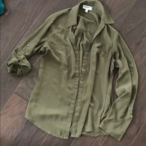 Olive green long sleeve button up blouse